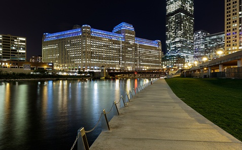 View of theMart at night from across the river