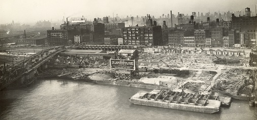 The construction of the Merchandise Mart in 1928