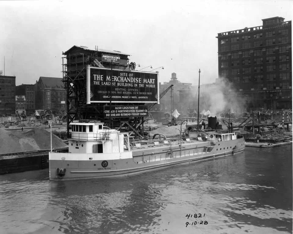 A steamer and the site of the future Merchandise Mart building in 1928